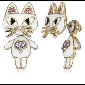 NWT Betsey Johnson cute kitty cat earrings